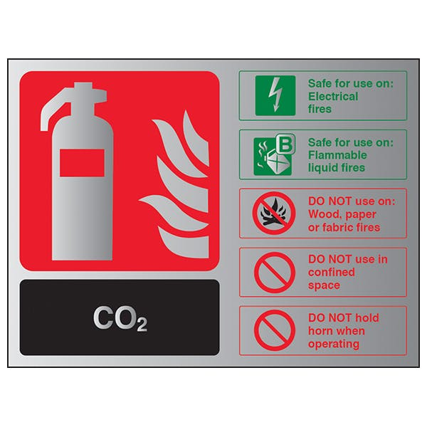 CO2 Fire Extinguisher - Landscape - Aluminium Effect