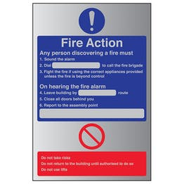 Fire Action - Any Person Discovering A Fire - Aluminium Effect
