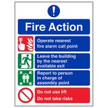 Eco-Friendly Fire Action 4 Point Fire Action Notice - Do Not Use Lift
