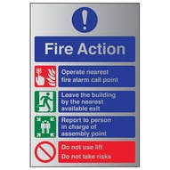Aluminium Effect - Fire Action Do Not Use Lift...