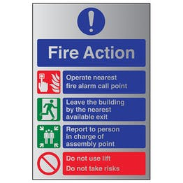 4 Point Fire Action Notice - Do Not Use Lift - Aluminium Effect