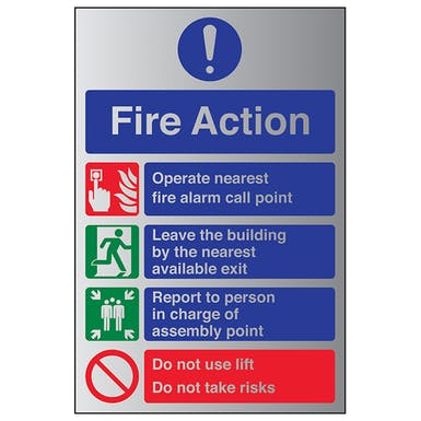 Aluminium Effect - Fire Action Do Not Use Lift...