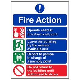 Eco-Friendly 4 Point Fire Action Notice
