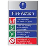 4 Point Fire Action Notice - Aluminium Effect