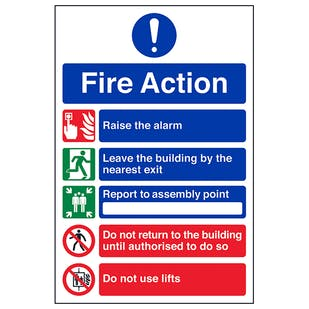 5 Point Fire Action Notice/Do Not Use Lifts