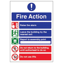 A4 - 5 Point Fire Action Notice/Do Not Use Lifts
