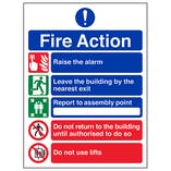 5 Point Fire Action - Do Not Use Lifts - Polycarbonate