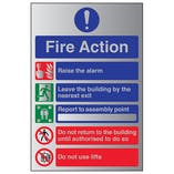 5 Point Fire Action Notice/Do Not Use Lifts - Aluminium Effect