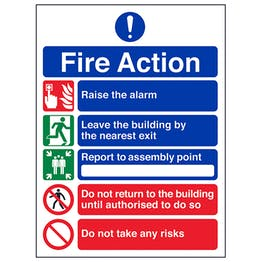 5 Point Fire Action - Do Not Take Risks - Polycarbonate