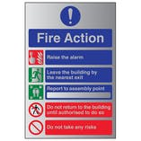 5 Point Fire Action Notice/Do Not Take Risks - Aluminium Effect