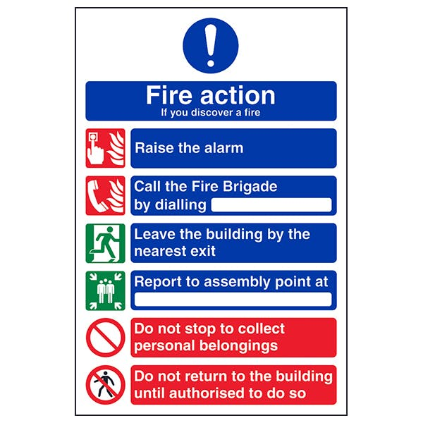 ACT-04F Fire Action Notice Sign 200mm x 300mm Self Adhesive Vinyl