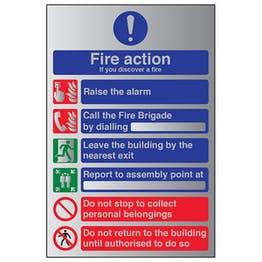 6 Point Fire Action - If You Discover A Fire - Aluminium Effect