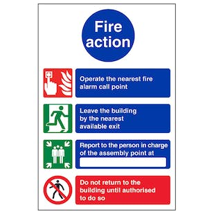 4 Point Fire Action Notice/Operate Nearest Fire Alarm