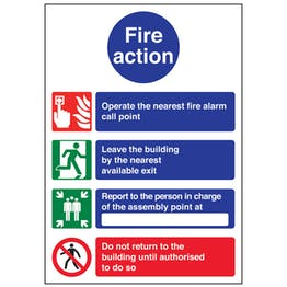 A4 - 4 Point Fire Action Notice/Operate Nearest Fire Alarm