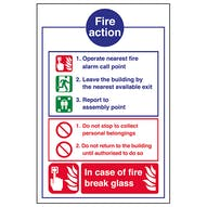 Fire Action Notice - In Case Of Fire Break Glass