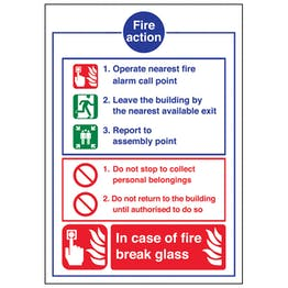 A4 - Fire Action Notice - In Case Of Fire Break Glass