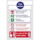 Eco-Friendly Fire Action Notice - In Case Of Fire Break Glass