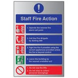 Staff Fire Action Notice - Aluminium Effect