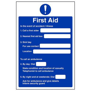 First Aid Action Notice