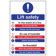 Multilingual Fire Action - Lift Safety