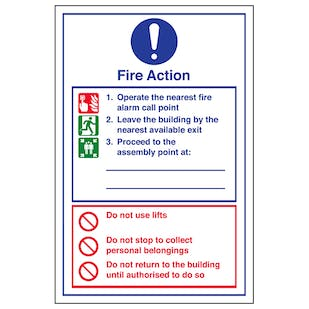 Fire Action Do Not Use Lifts - Portrait