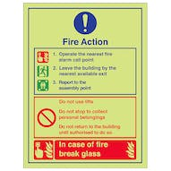 Glow In The Dark Fire Action Signs