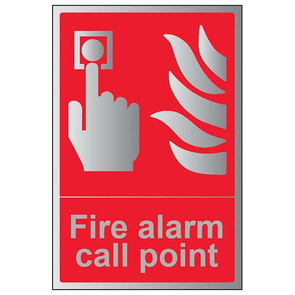 Fire Alarm Call Point - Portrait - Aluminium Effect