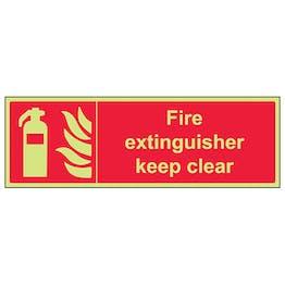 GITD Fire Extinguisher Keep Clear - Landscape