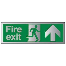 Fire Exit Arrow Up - Aluminium Effect