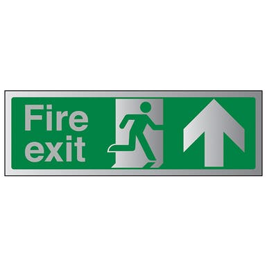 Aluminium Effect - Fire Exit Arrow Up