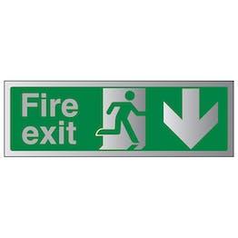 Fire Exit Arrow Down - Aluminium Effect