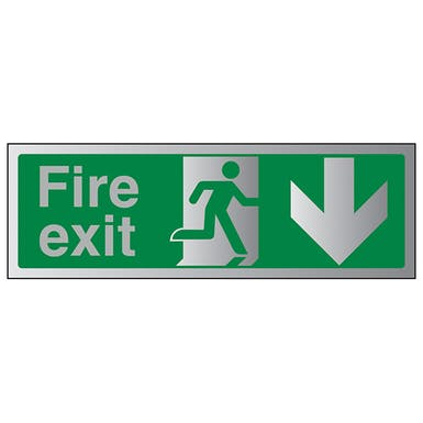 Aluminium Effect - Fire Exit Arrow Down