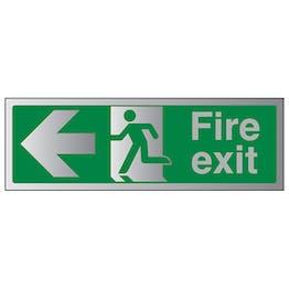 Fire Exit Arrow Left - Aluminium Effect