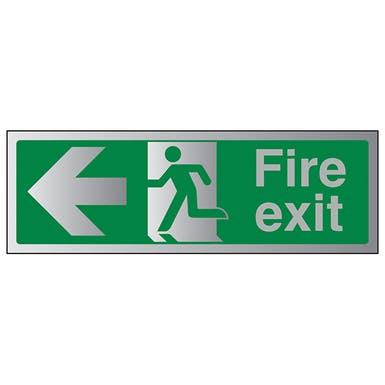 Aluminium Effect - Fire Exit Arrow Left