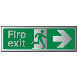 Fire Exit Arrow Right - Aluminium Effect