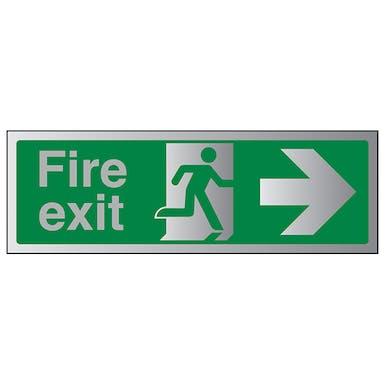 Aluminium Effect - Fire Exit Arrow Right