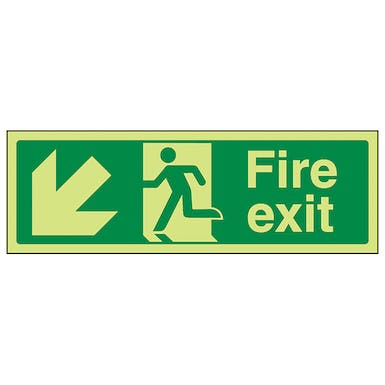 GITD Fire Exit Arrow Down Left