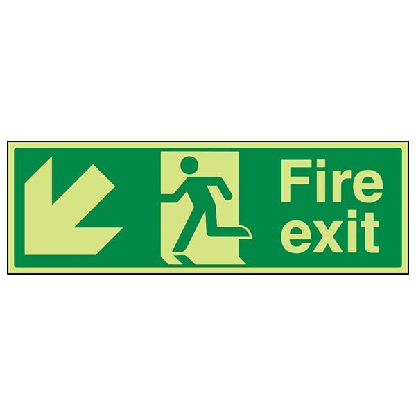 GITD Fire Exit Arrow Down Left