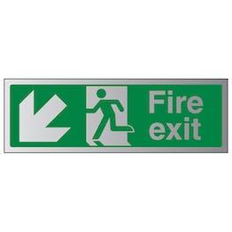 Fire Exit Arrow Down Left - Aluminium Effect