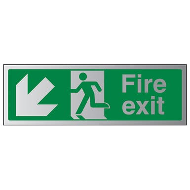 Aluminium Effect - Fire Exit Arrow Down Left