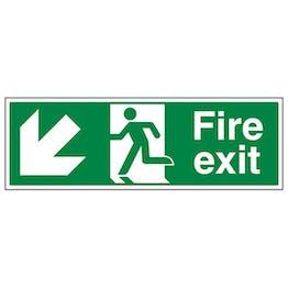 Eco-Friendly Fire Exit Arrow Down Left
