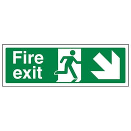 Fire Exit Arrow Down Right - Polycarbonate