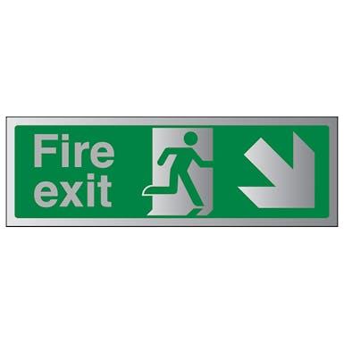 Aluminium Effect - Fire Exit Arrow Down Right