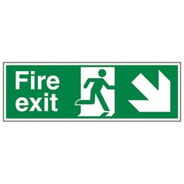 Eco-Friendly Fire Exit Arrow Down Right