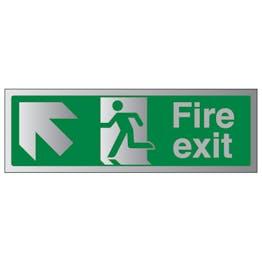 Fire Exit Arrow Up Left - Aluminium Effect