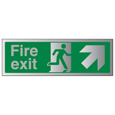 Aluminium Effect - Fire Exit Arrow Up Right
