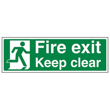 Fire Exit Keep Clear With Running Man