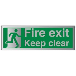 Fire Exit Keep Clear With Running Man - Aluminium Effect