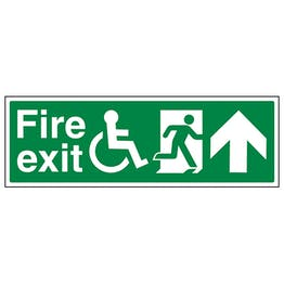 Wheel Chair Fire Exit with Text Arrow Up