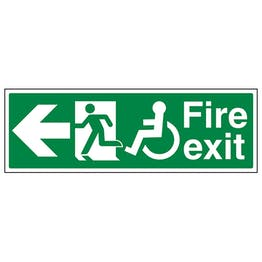 Wheel Chair Fire Exit with Text Arrow Left
